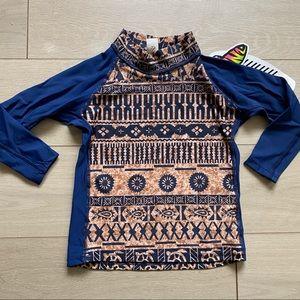 Sun Skinz Blue & Print Long Sleeve Rash Guard-10